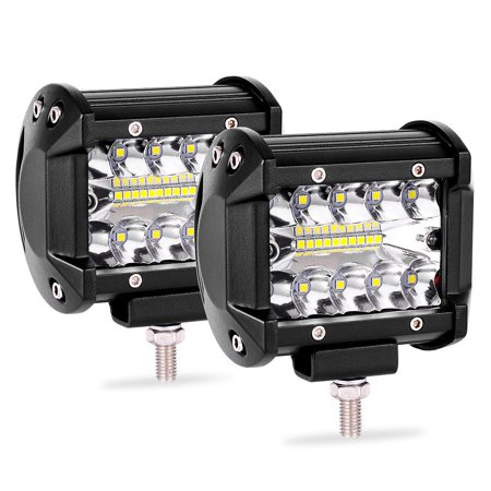 2x Tri Row Led Work Light Bar Pods 4inch 144W Offroad Backup Driving Spot&Flood for Jeeps Truck Pickup SUV ATV UTV,2 Years