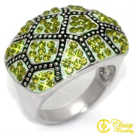 Classy Not Trashy® Size 5 Olivine Color Crystal Brass Rhodium Ring