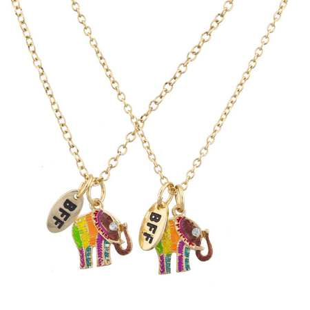 Lux Accessories Gold Tone Enamel Elephant BFF Best Friends Necklace Set (2PCS) - Gold Enamel Elephant