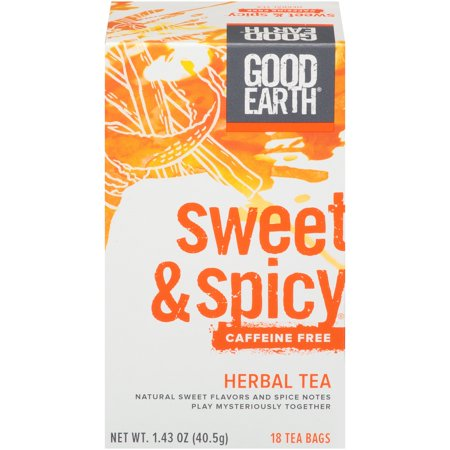 - (3 Boxes) Good Earth Herbal & Black Tea, Sweet & Spicy, Caffeine Free, Tea Bags, 18 Ct