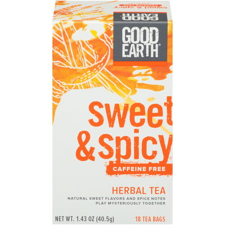 (3 Boxes) Good Earth Herbal & Black Tea, Sweet & Spicy, Caffeine Free, Tea Bags, 18 Ct