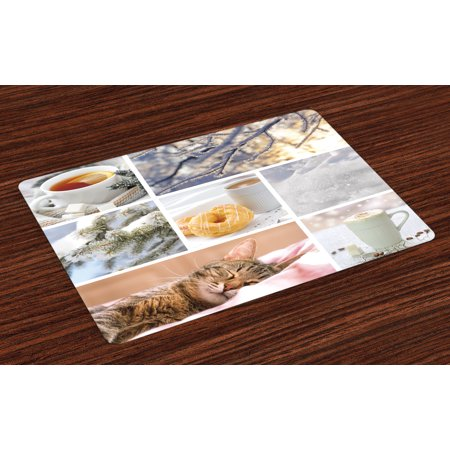 Winter Placemats Set of 4 Snowy Morning with Sleeping Cat Coffee Donuts Icy Tree Branch Comfort Collage Art, Washable Fabric Place Mats for Dining Room Kitchen Table Decor,Multicolor, by Ambesonne