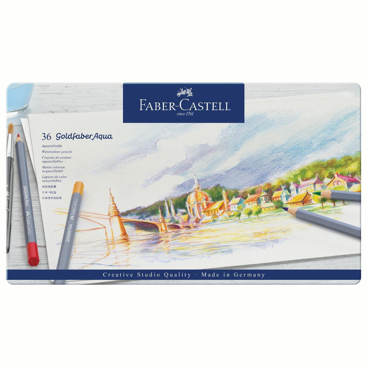 Faber-Castell Goldfaber Aqua Watercolor Pencil Tin Set, 36-Colors