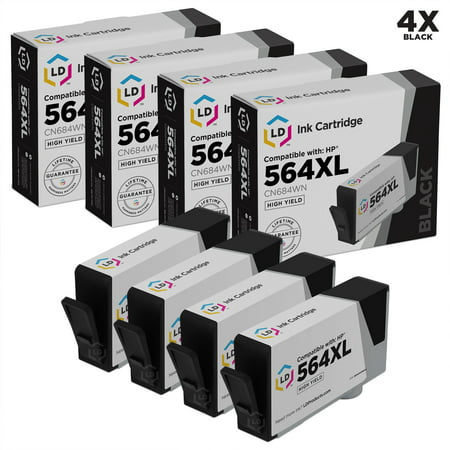 LD Remanufactured Replacement for Hewlett Packard 564XL / 564 CN684WN Set of 4 ink Cartridges:SHOWS ACCURATE LEVELS