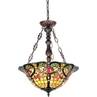 "Chloe Lighting Bertram Tiffany-Style 3-Light Victorian Inverted Ceiling Pendant with 18"" Shade"