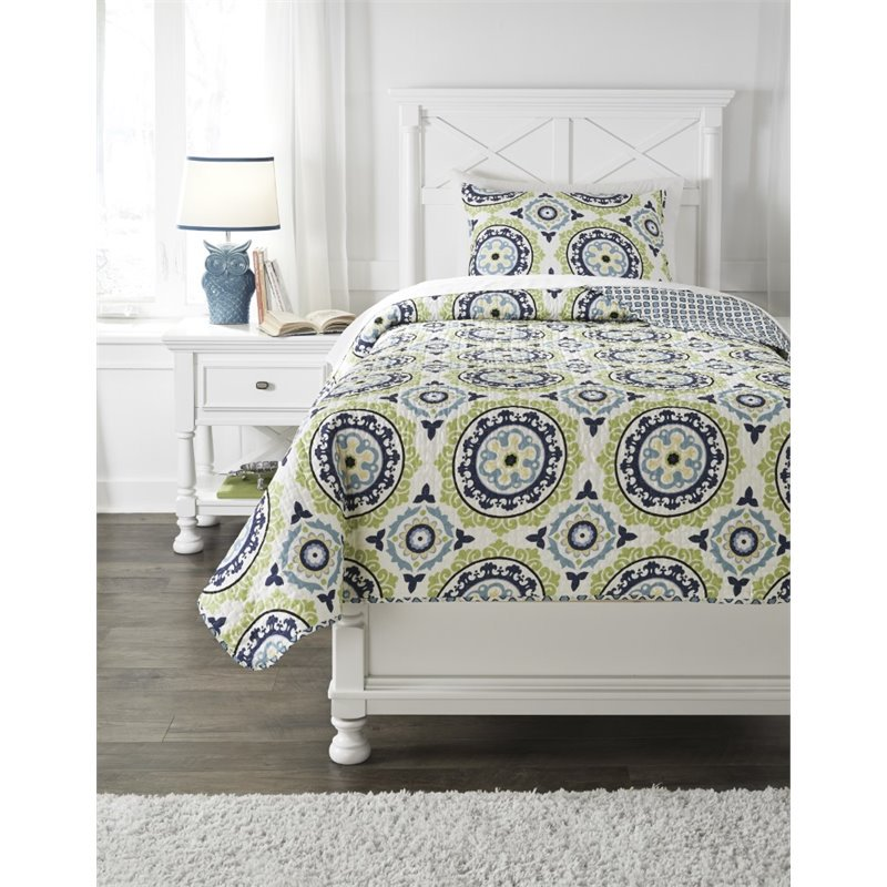 Ashley Danesha Twin Coverlet Set in Blue and Green by Ashley Furniture