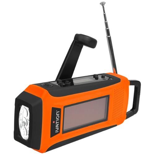 Ivation Solar Crank NOAA Weather Emergency Radio, LED Flashlight, Smartphone Charger with Cable, Rechargeable, Rainproof, & Compact
