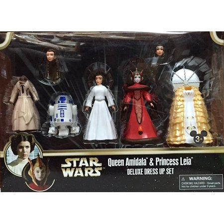 Disney Star Wars Queen Amidala and Princess Leia Figures Deluxe Dress Up Set With R2-D2 - Disney Parks Exclusive](Disney Dress Up Princess)