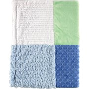 Hudson Baby Boy and Girl Multi-Fabric Blanket - Blue