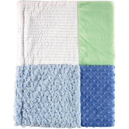 Hudson Baby Boy and Girl Multi-Fabric Blanket - Blue