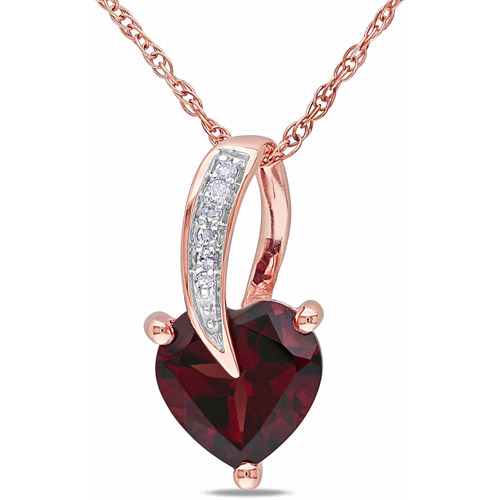 """Tangelo 1-3 8 Carat T.G.W. Garnet and Diamond Accent 10kt Rose Gold Heart Women's Pendant Necklace, 17"""" by Generic"""