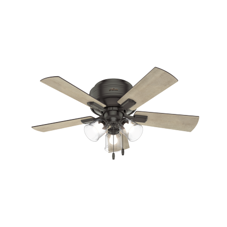 """42"""" Hunter Crestfield Low Profile with 3-Light Kit Noble Bronze Ceiling Fan with LED Light Kit"""
