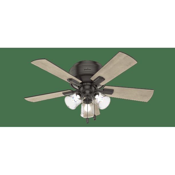 42 Hunter Crestfield Low Profile With 3 Light Kit Noble Bronze Ceiling Fan With Led Light Kit Walmart Com Walmart Com
