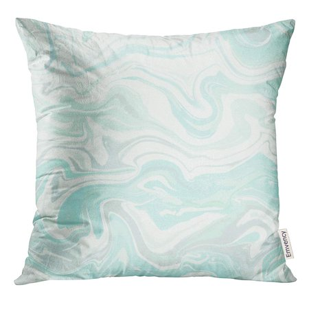 USART Natural Pink Marble Imitation Trendy with Blue and Grey Acrylic Drips on White Paint Waves Vortexes Stone Pillow Case 18x18 Inches Pillowcase