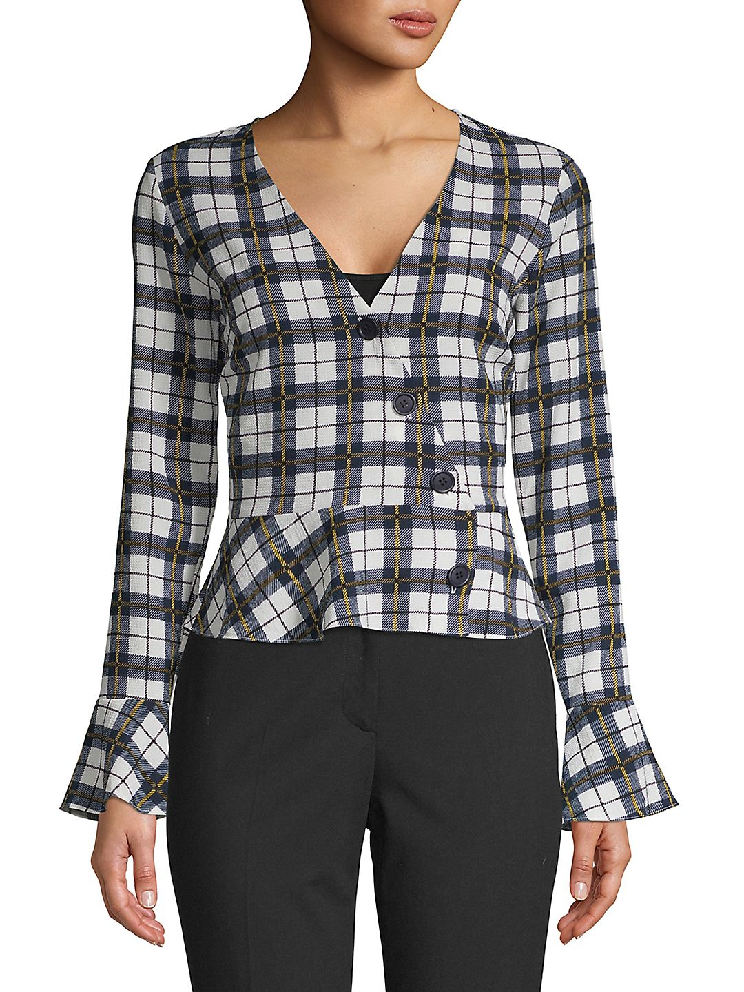 Windowpane Plaid Peplum Wrap Top