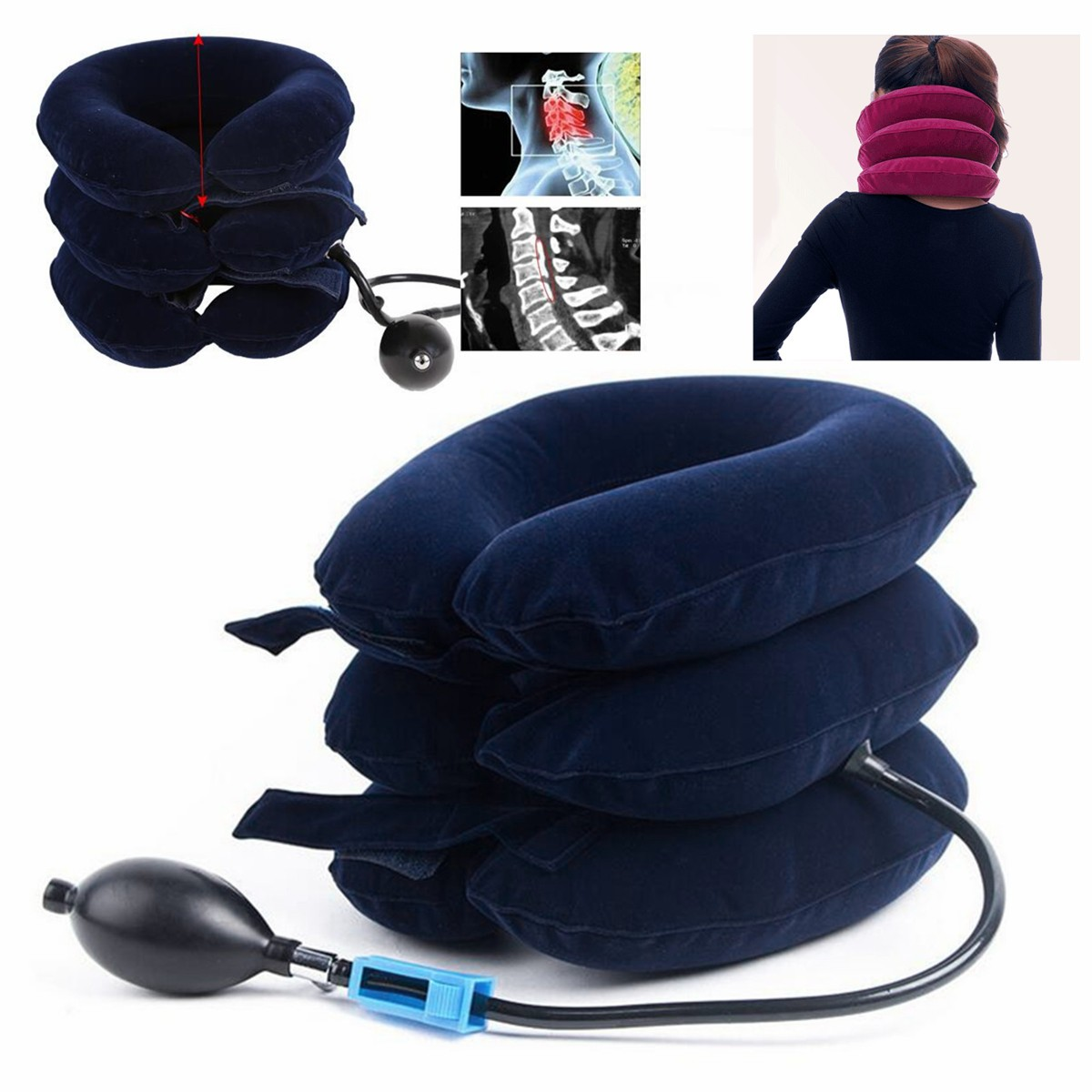 Air Inflatable Pillow Neck Brace Traction Support Device for Neck Back Head & Shoulder Pain Cervical Neck Head Pain Good For Stress Relief