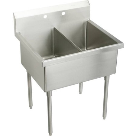 Elkay SS82302 Commercial Sturdibilt Scullery Sink with 2 Faucet Holes