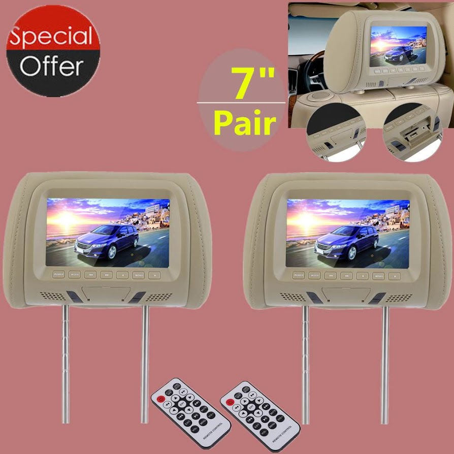 2PCS 7 Inch Car Pillow Monitor LED Digital Screen Headrest Car DVD Monitor Player Car Headrest TV Monitors With Remote Control Beige