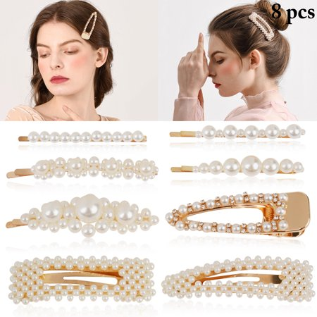 8Pcs Assorted Women's Artificial Pearl Hair Clip, Fashion Alligator Clip Barrette Bobby Pin Hair Accessories for Women Girls