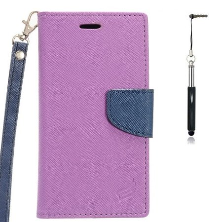 Phone Case For ZTE Zmax One LTE Z719DL, ZTE Blade Spark 4G (AT&T), ZTE Grand X4 (Cricket Wireless) Premium Wallet Pouch Case PU Leather Stand + Black Stylus Pen (Purple-Blue) - Bladed Spear