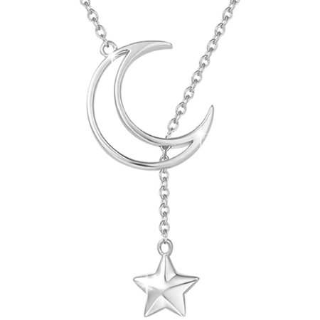 Agvana 14K Gold Plated Sterling Silver Dainty Moon Star Pendant Necklace Birthday Anniversary Jewelry Gifts for Women Teen Girls Mom Grandma Wife Lover Daughter, 16+2 Inch