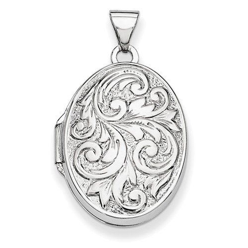 14k White Gold Polished Reversible Love You Always Oval Locket by Jewelrypot