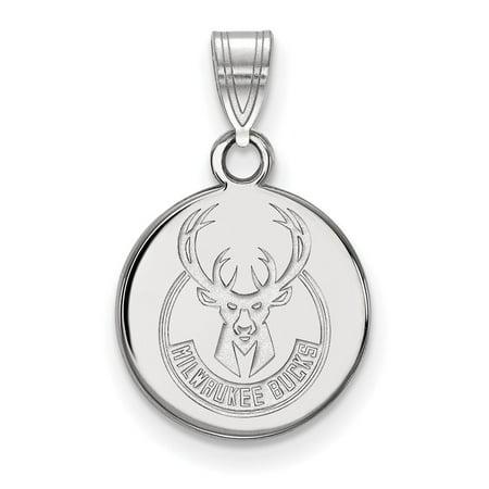 NBA Milwaukee Bucks Sterling Silver Small Disc Pendant