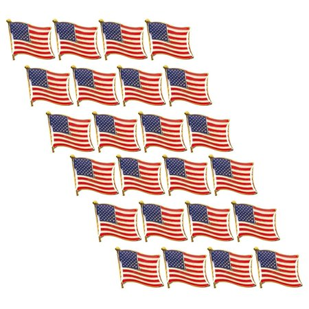 American Flag Lapel Pins - 24-pack Usa Pins, Patriotic Us Flag Pins For United States National Day, Celebrations, Decorations, and Daily Outfit