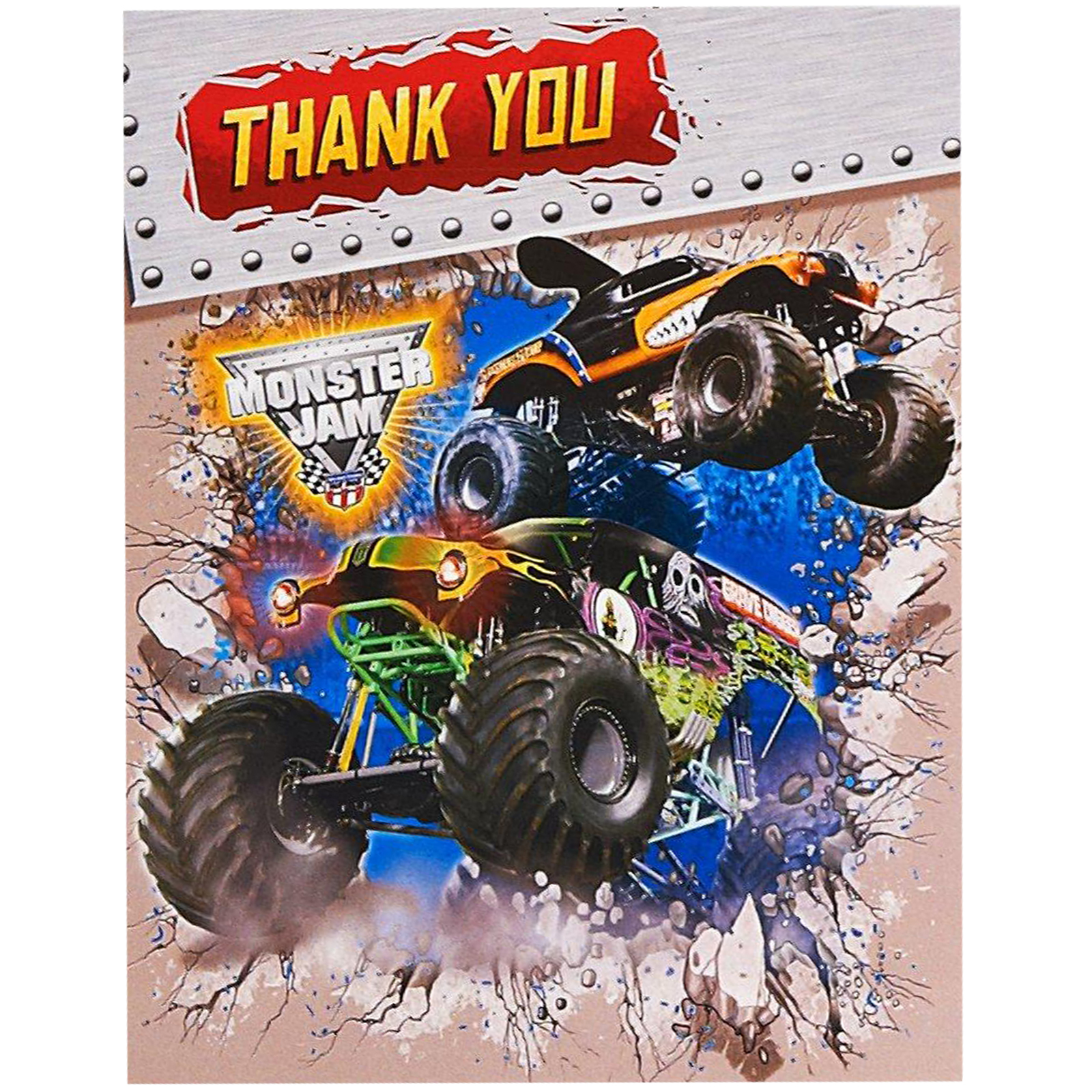 Monster Jam Party Supplies 16 Pack Thank You Notes