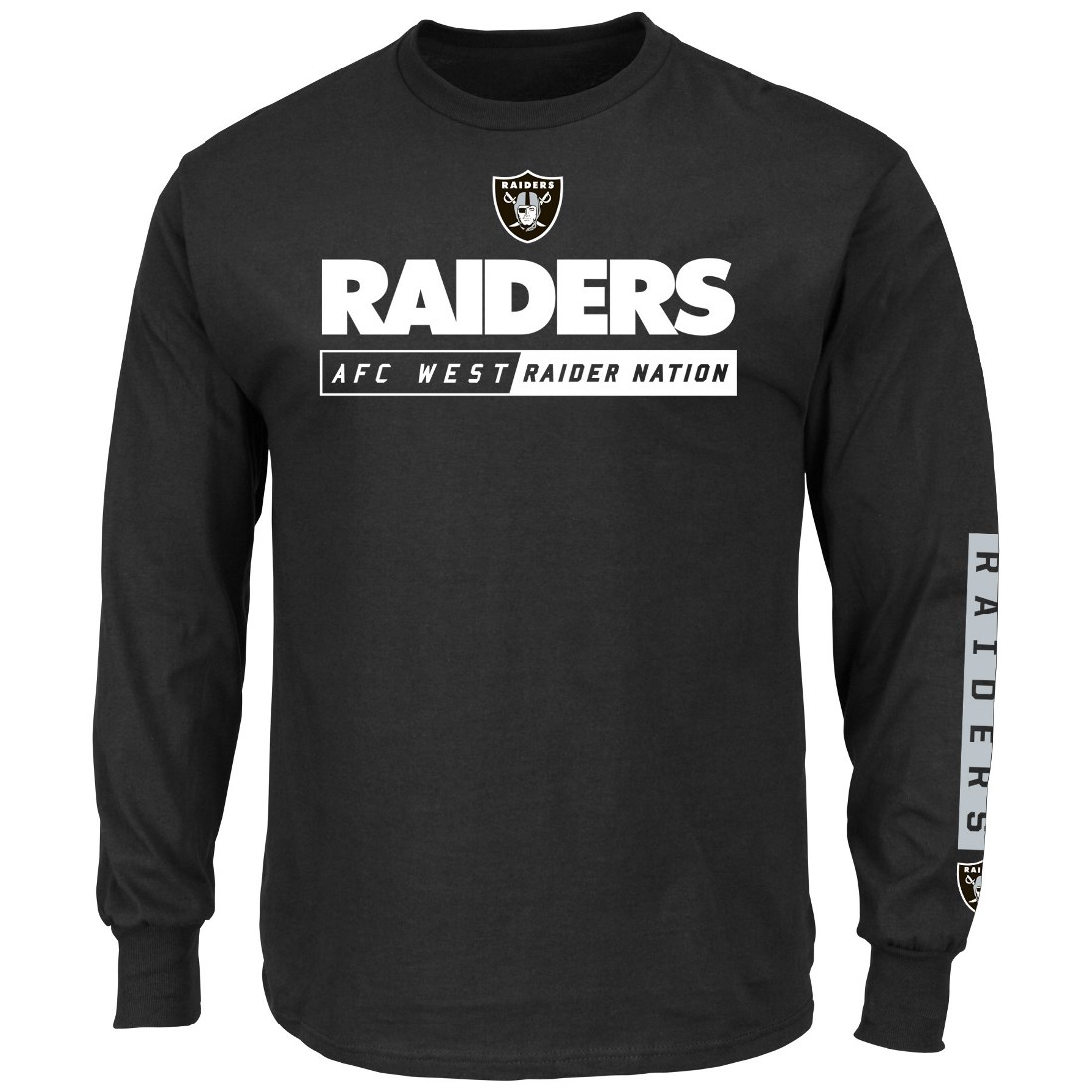 Oakland Raiders Majestic NFL Primary Receiver 2 Long Sleeve Men's T-Shirt