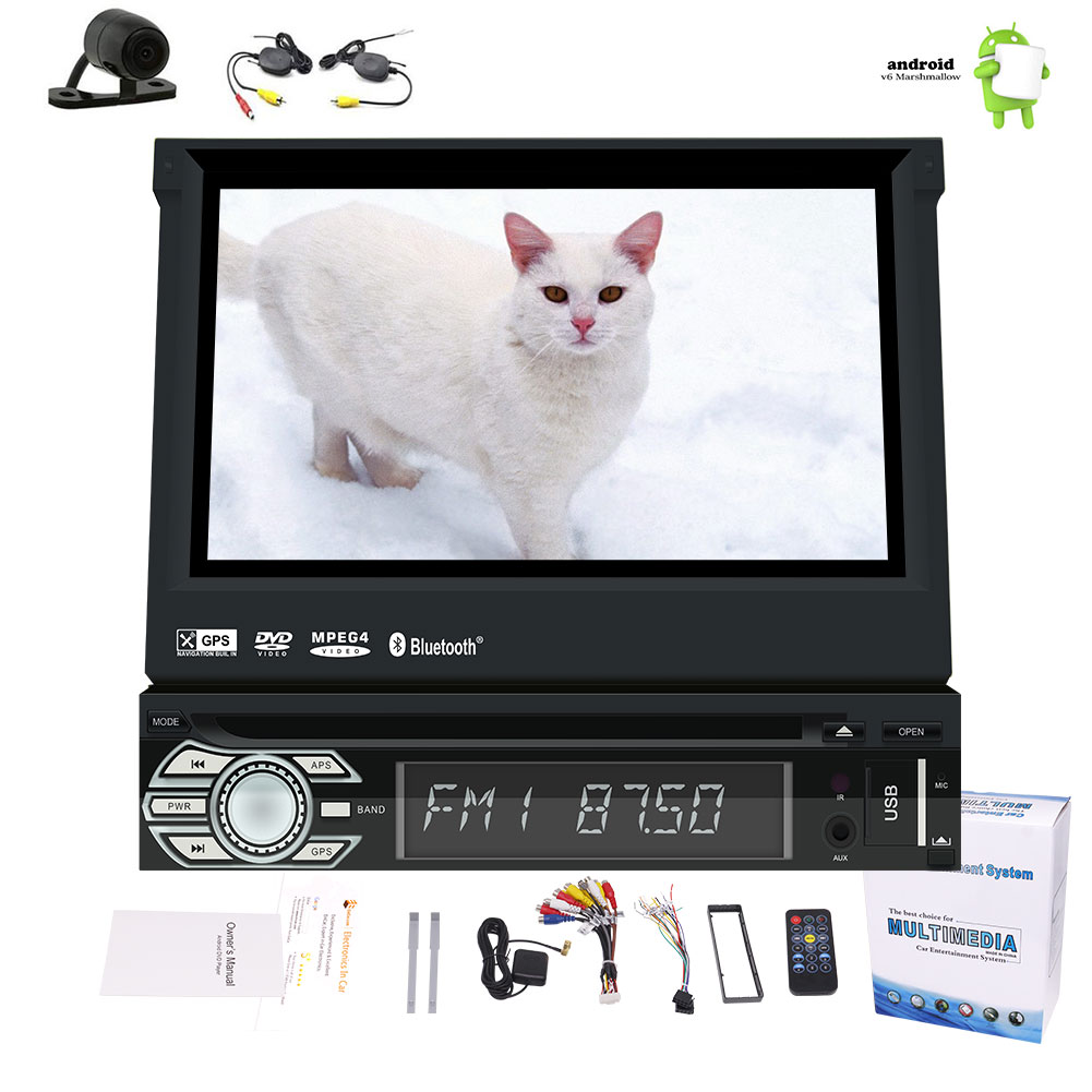 Car DVD Player with Android 6.0 System 1 Din Car Stereo with New Designed Motorized 7 inch Screen Auto Radio... by EinCar