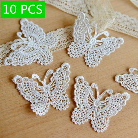 Holiday Clearance Hollow out Lace Embroidery Stickwork Sticker Butterfly Cloth Clothes Applique Decal Water Soluble Mesh DIY ()