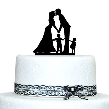 Buythrow Wedding Cake Topper with Little Girl and Boy, Bride and Groom Silhouette, Cake Decoration