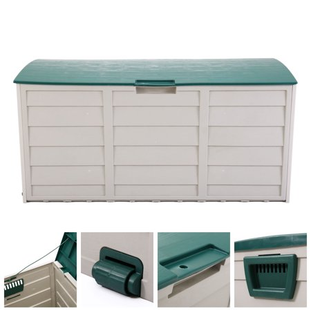 Jaxpety Deck Storage Box Outdoor Patio Garage Shed Backyard Garden Tool Box Container ()