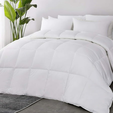 Bedsure 100% Cotton Quilted Down Alternative White Comforter Queen with Corner Tab Lightweight Soft Duvet Insert All Season