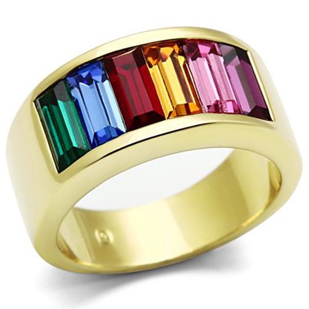 Stainless Steel 14k Gold Ion Plated Baguette Rainbow Ring Women's Sizes 5