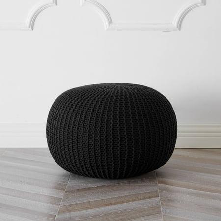 Urban Shop Round Knit Pouf, Black ()