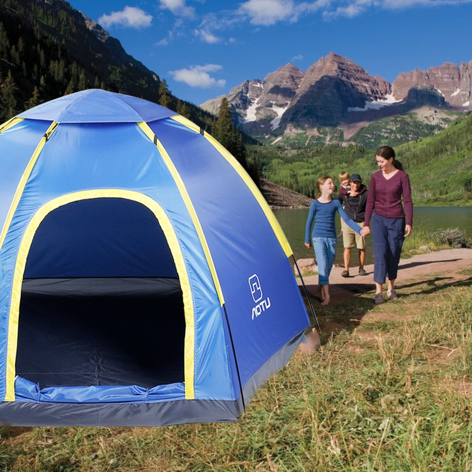 Camping Hiking Tent Waterproof 3-4 People Automatic Instant Pop up Family Tent by LESHP