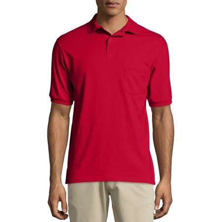 Hanes Big men's ecosmart short sleeve jersey polo shirt with pocket - Marine Corps Polo Shirts