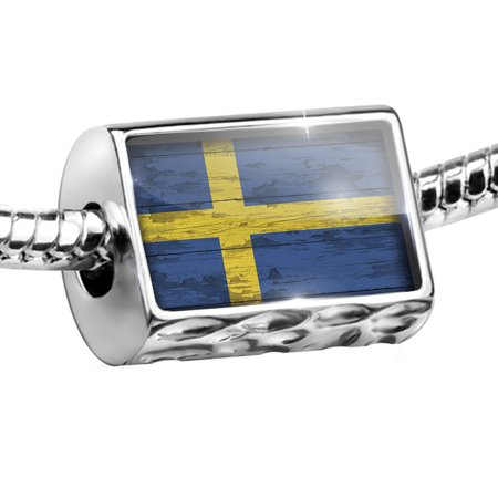 Bead Flag on Wood Swedish Charm Fits All European Bracelets - Als Bracelet