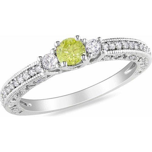 1/2 Carat T.W. Yellow and White Diamond 14kt White Gold Three-Stone Engagement Ring