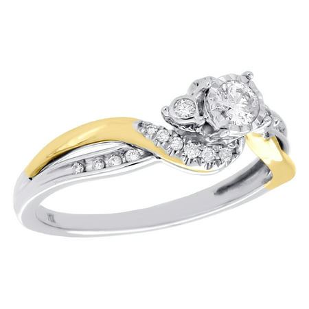 14K Two Tone Gold Bezel Set Three Stone Diamond Bypass Engagement Ring 0.25 CT. 3 Stone Semi Bezel