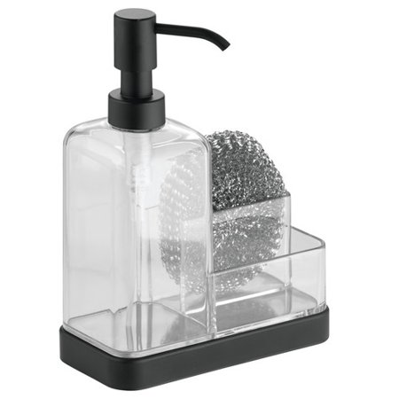 Interdesign Forma Kitchen Countertop Soap Pump Dispenser Sponge Scrubby Organizer Clear Matte