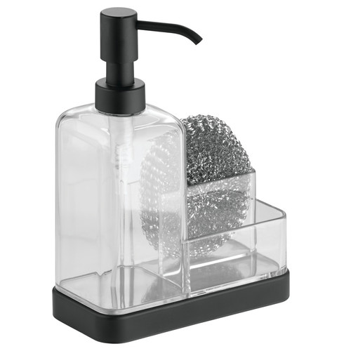 InterDesign Forma Kitchen Countertop Soap Pump Dispenser, Sponge, Scrubby Organizer, Clear/Matte Black