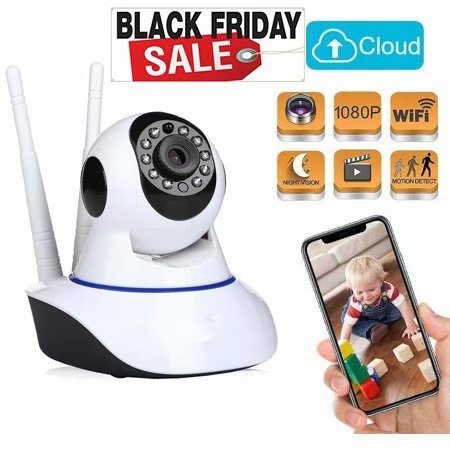 Baby Monitor, Black Friday WiFi Baby Camera 1080P, pet Camera, 360 Degree Home Security Camera, Motion Tracking, Super Infrared Night Vision, Two-Way Audio, Motion and Sound