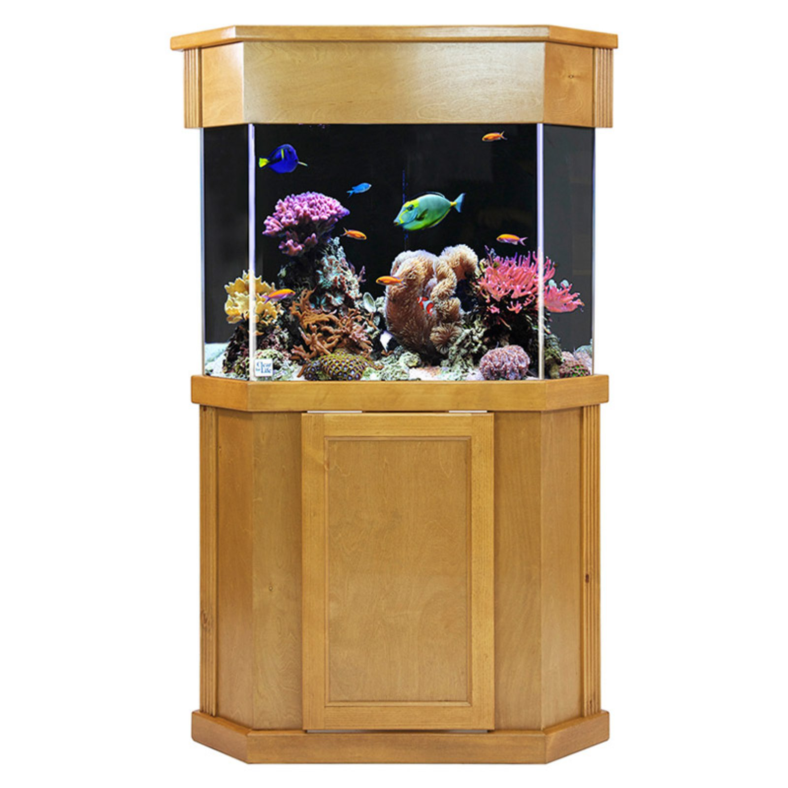 Laguna Series Pentagon Light Pine Wood Aquarium Stand