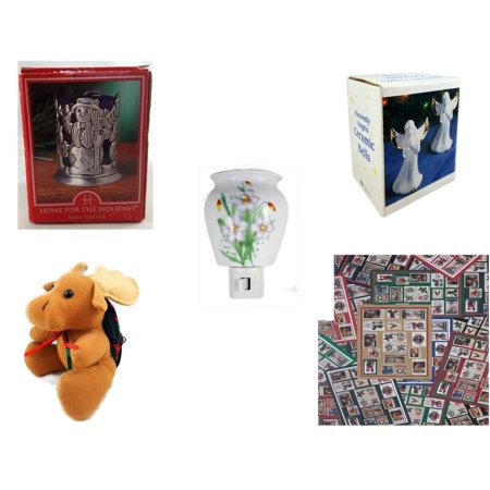 Christmas Fun Gift Bundle [5 Piece] - Home For The s Snowman Votive Holder - Heavenly Angels Ceramic Bells 4