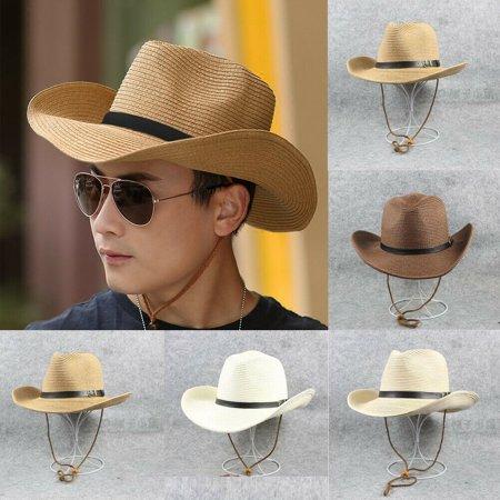 New Women Men's Summer Beach Natural Cowboy Wide Brim Straw Hat Sun Hat Cap Brim Straw Cowboy Hat