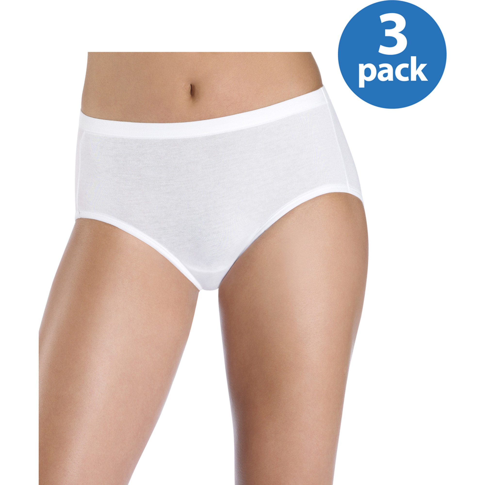 Hanes Women's 3-Pack Stretch Cotton ComfortSoft Waistband Low-Rise Brief Panties
