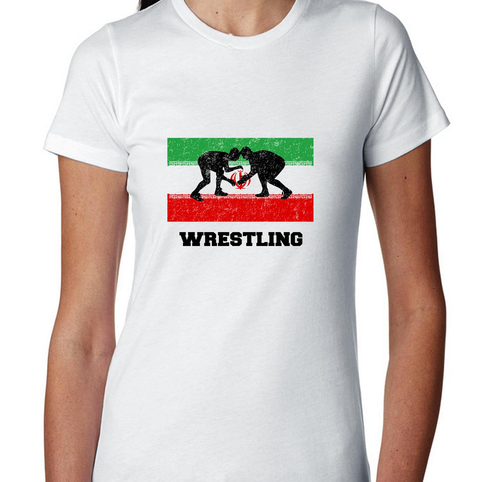 Iran Olympic - Wrestling - Flag - Silhouette Women's Cotton T-Shirt